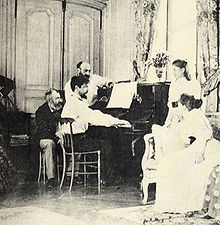Debussy at the piano, with friends