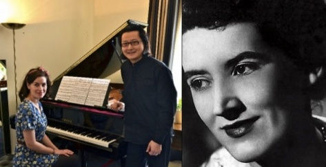 Pianist Archie Chen with actress Maimie McCoy who plays Joyce Hatto (right) as a young woman