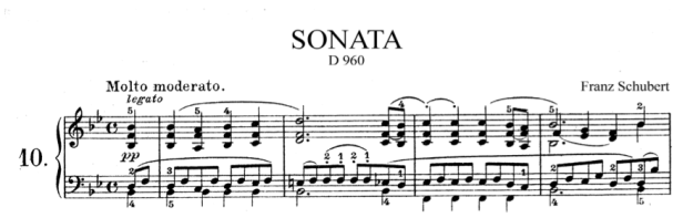 The opening bars of the first movement of Schubert's Sonata in B-flat Major D960