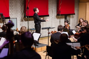 Daniel Parkinson conducts RNCM strings (Photo: Tom Gradwell)