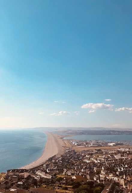 Chesil Beach from the Olympic rings, Portland